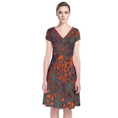 Abstract Lighted Wallpaper Of A Metal Starburst Grid With Orange Back Lighting Short Sleeve Front Wrap Dress