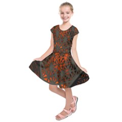 Abstract Lighted Wallpaper Of A Metal Starburst Grid With Orange Back Lighting Kids  Short Sleeve Dress