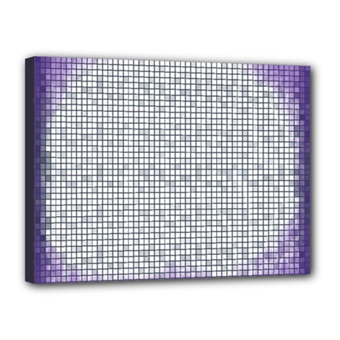 Purple Square Frame With Mosaic Pattern Canvas 16  x 12