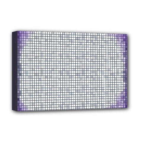Purple Square Frame With Mosaic Pattern Deluxe Canvas 18  x 12
