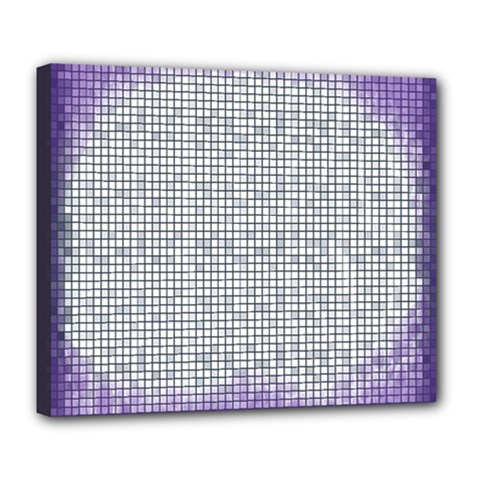 Purple Square Frame With Mosaic Pattern Deluxe Canvas 24  x 20