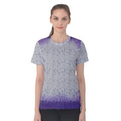 Purple Square Frame With Mosaic Pattern Women s Cotton Tee