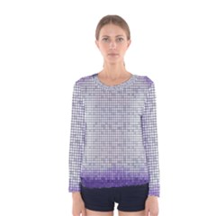 Purple Square Frame With Mosaic Pattern Women s Long Sleeve Tee