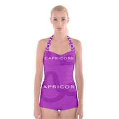 Zodiac Capricorn Purple Boyleg Halter Swimsuit
