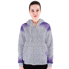 Purple Square Frame With Mosaic Pattern Women s Zipper Hoodie