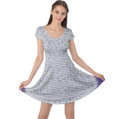 Purple Square Frame With Mosaic Pattern Cap Sleeve Dresses