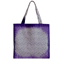 Purple Square Frame With Mosaic Pattern Zipper Grocery Tote Bag