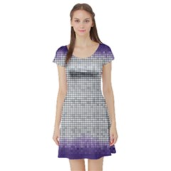 Purple Square Frame With Mosaic Pattern Short Sleeve Skater Dress