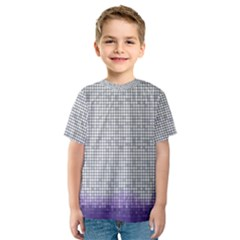 Purple Square Frame With Mosaic Pattern Kids  Sport Mesh Tee