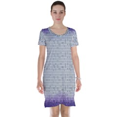 Purple Square Frame With Mosaic Pattern Short Sleeve Nightdress