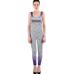 Purple Square Frame With Mosaic Pattern Onepiece Catsuit