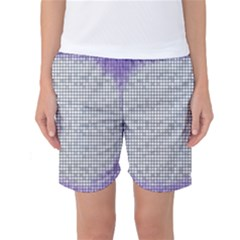 Purple Square Frame With Mosaic Pattern Women s Basketball Shorts