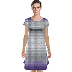 Purple Square Frame With Mosaic Pattern Cap Sleeve Nightdress