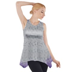 Purple Square Frame With Mosaic Pattern Side Drop Tank Tunic