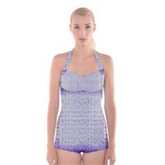 Purple Square Frame With Mosaic Pattern Boyleg Halter Swimsuit