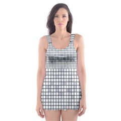 Purple Square Frame With Mosaic Pattern Skater Dress Swimsuit