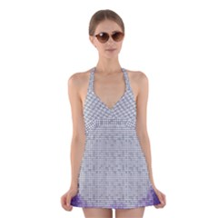 Purple Square Frame With Mosaic Pattern Halter Swimsuit Dress