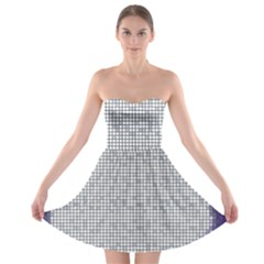 Purple Square Frame With Mosaic Pattern Strapless Bra Top Dress