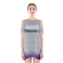 Purple Square Frame With Mosaic Pattern Shoulder Cutout One Piece