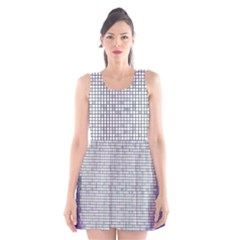 Purple Square Frame With Mosaic Pattern Scoop Neck Skater Dress