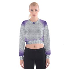 Purple Square Frame With Mosaic Pattern Cropped Sweatshirt