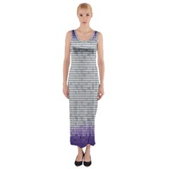 Purple Square Frame With Mosaic Pattern Fitted Maxi Dress
