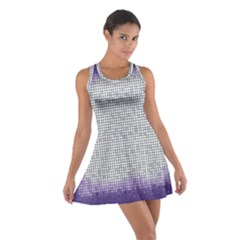 Purple Square Frame With Mosaic Pattern Cotton Racerback Dress