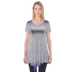 Purple Square Frame With Mosaic Pattern Short Sleeve Tunic