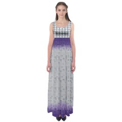 Purple Square Frame With Mosaic Pattern Empire Waist Maxi Dress