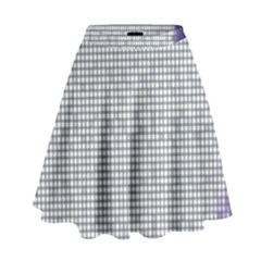 Purple Square Frame With Mosaic Pattern High Waist Skirt