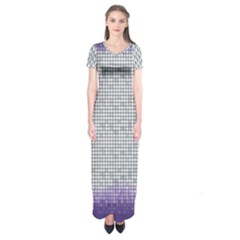Purple Square Frame With Mosaic Pattern Short Sleeve Maxi Dress