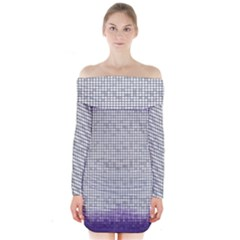 Purple Square Frame With Mosaic Pattern Long Sleeve Off Shoulder Dress