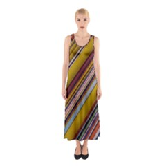 Colourful Lines Sleeveless Maxi Dress