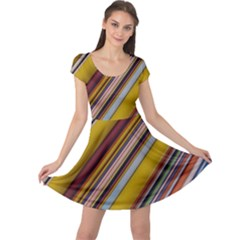 Colourful Lines Cap Sleeve Dresses