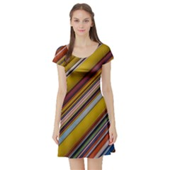 Colourful Lines Short Sleeve Skater Dress