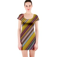 Colourful Lines Short Sleeve Bodycon Dress