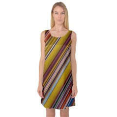 Colourful Lines Sleeveless Satin Nightdress