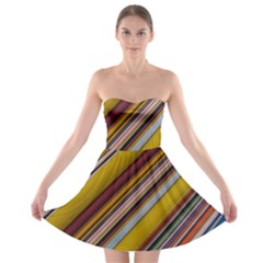 Colourful Lines Strapless Bra Top Dress
