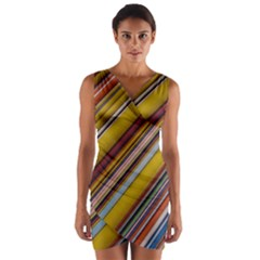 Colourful Lines Wrap Front Bodycon Dress