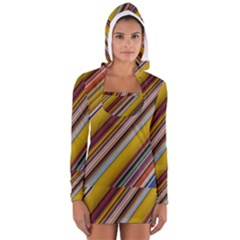 Colourful Lines Women s Long Sleeve Hooded T-shirt
