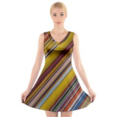 Colourful Lines V Neck Sleeveless Skater Dress
