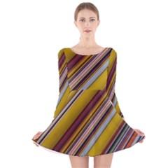 Colourful Lines Long Sleeve Velvet Skater Dress