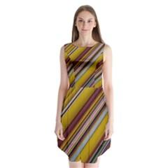 Colourful Lines Sleeveless Chiffon Dress