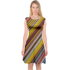 Colourful Lines Capsleeve Midi Dress
