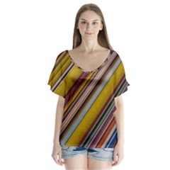 Colourful Lines Flutter Sleeve Top