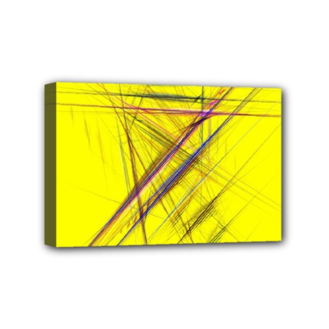 Fractal Color Parallel Lines On Gold Background Mini Canvas 6  x 4