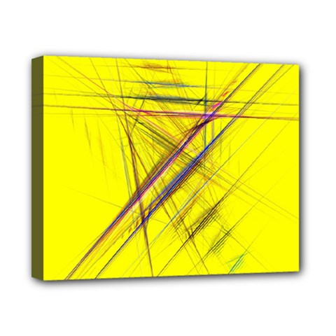 Fractal Color Parallel Lines On Gold Background Canvas 10  x 8