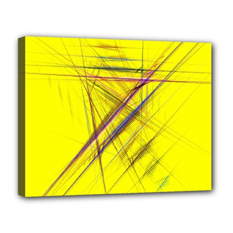Fractal Color Parallel Lines On Gold Background Canvas 14  x 11