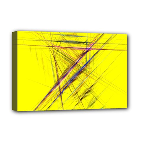 Fractal Color Parallel Lines On Gold Background Deluxe Canvas 18  x 12