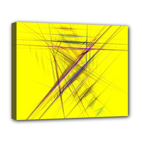 Fractal Color Parallel Lines On Gold Background Deluxe Canvas 20  x 16